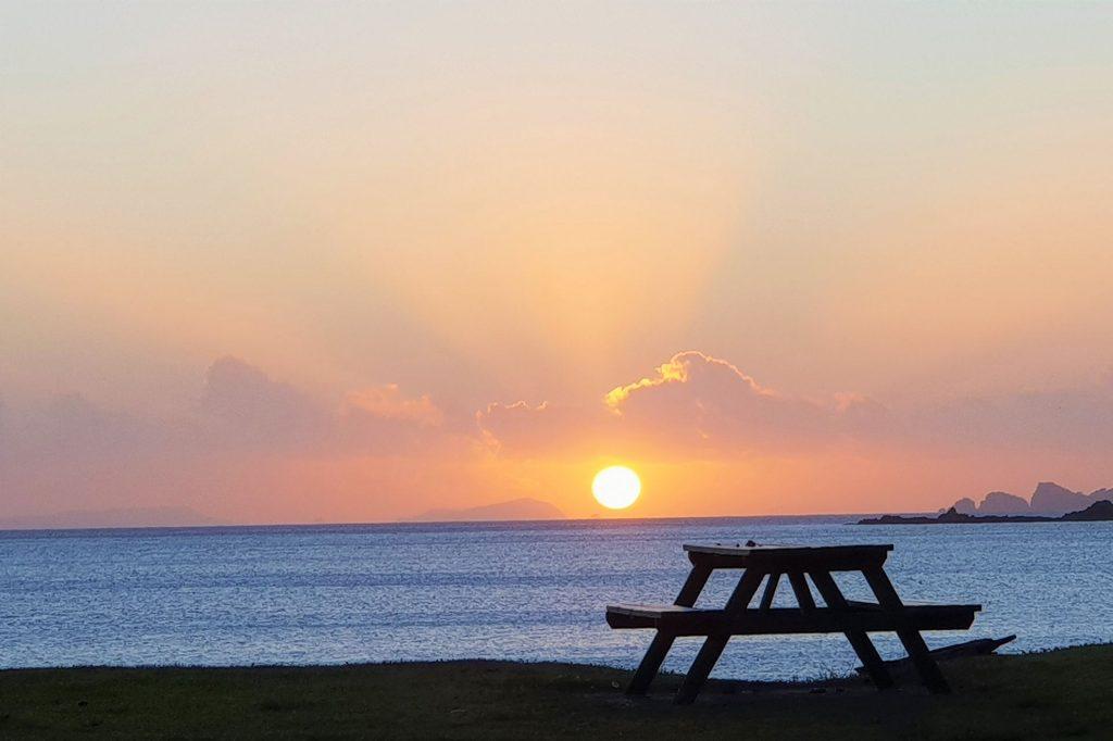 Front tentsite table sunrise