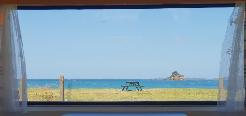 Retro front window ocean view