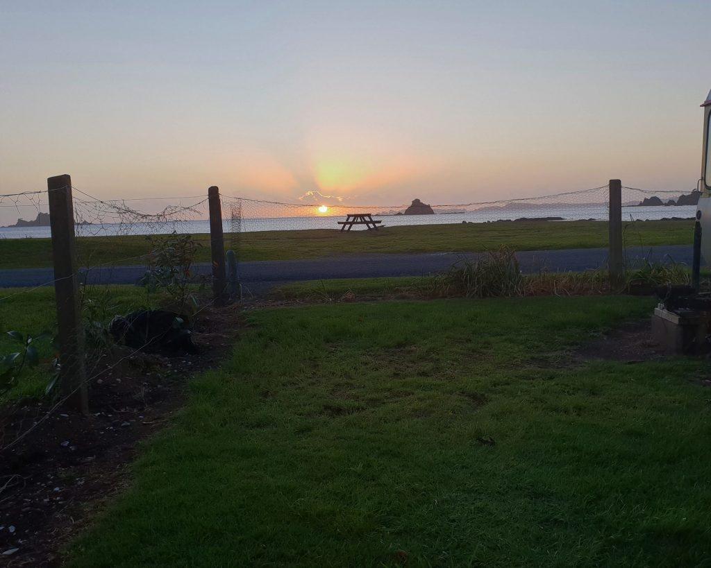 front empty campsite sunrise
